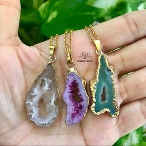Druzy Agate Necklace   Stainless Steel Chain